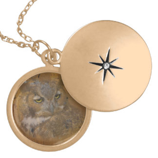 Great Horned Owl Faded on Old Wood Locket Necklace