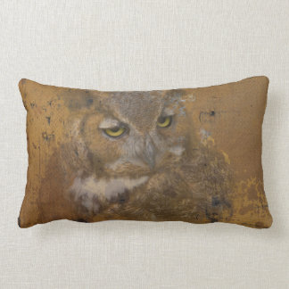Great Horned Owl Faded on Old Wood Lumbar Pillow