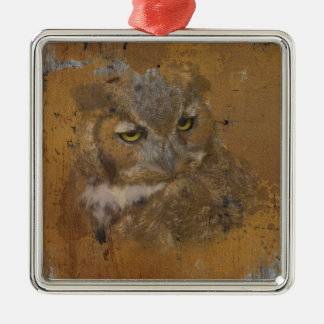 Great Horned Owl Faded on Old Wood Metal Ornament