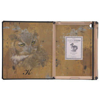 Great Horned Owl Faded on Old Wood, Monogram iPad Case