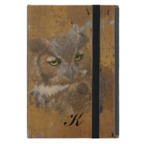 Great Horned Owl Faded on Old Wood, Monogram iPad Mini Case