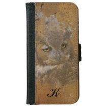 Great Horned Owl Faded on Old Wood, Monogram iPhone 6/6s Wallet Case