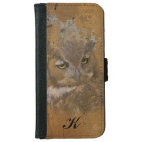 Great Horned Owl Faded on Old Wood, Monogram iPhone 6 Wallet Case