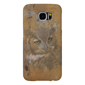 Great Horned Owl Faded on Old Wood, Monogram Samsung Galaxy S6 Case