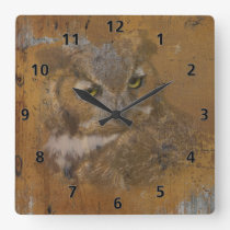 Great Horned Owl Faded on Old Wood, Monogram Square Wall Clock