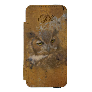 Great Horned Owl Faded on Old Wood, Monogram Wallet Case For iPhone SE/5/5s
