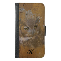 Great Horned Owl Faded on Old Wood, Monogram Wallet Phone Case For Samsung Galaxy S6