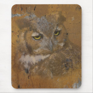 Great Horned Owl Faded on Old Wood Mouse Pad