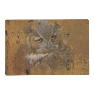 Great Horned Owl Faded on Old Wood Placemat