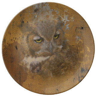 Great Horned Owl Faded on Old Wood Plate