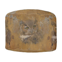 Great Horned Owl Faded on Old Wood Pouf