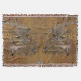 Great Horned Owl Faded on Old Wood Throw