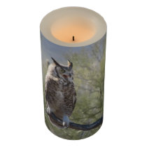 Great Horned Owl Flameless Candle