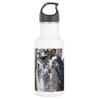 Great Horned Owl Fledgling Photo Design 18oz Water Bottle