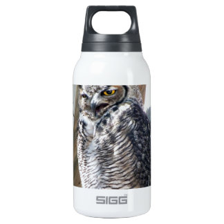 Great Horned Owl Fledgling Photo Design Insulated Water Bottle