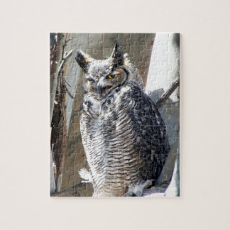 Great Horned Owl Fledgling Photo Design Jigsaw Puzzle