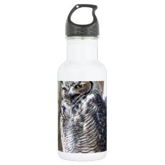 Great Horned Owl Fledgling Photo Design Stainless Steel Water Bottle