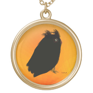 Great Horned Owl Gold Plated Necklace