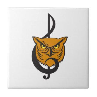 Great Horned Owl Head Musical Note Ceramic Tile