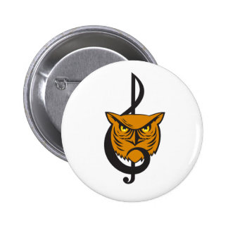 Great Horned Owl Head Musical Note Pinback Button