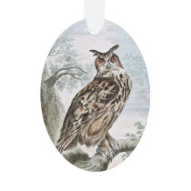 Great Horned Owl Illustration Ornament