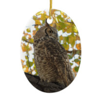 Great Horned Owl in a Tree Ceramic Ornament