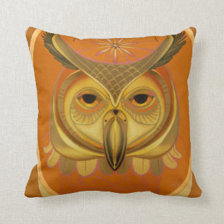 great horned owl in orange and brown throw pillow