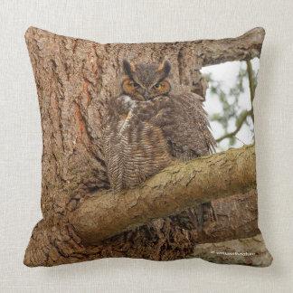 Great Horned Owl in the Douglas Fir Throw Pillow