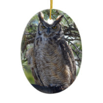 Great Horned Owl in the Tree Ceramic Ornament