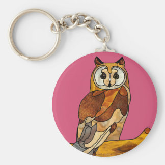 Great Horned Owl Basic Round Button Keychain