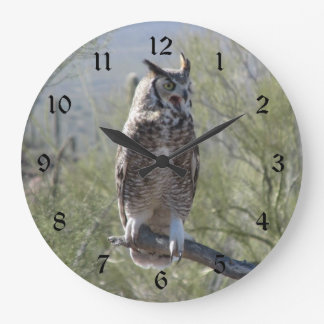 Great Horned Owl Large Clock