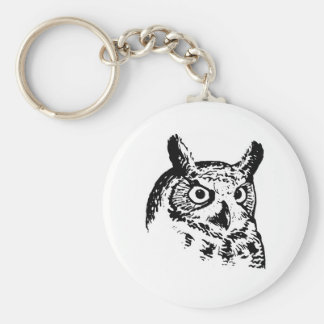 Great Horned Owl Logo Basic Round Button Keychain
