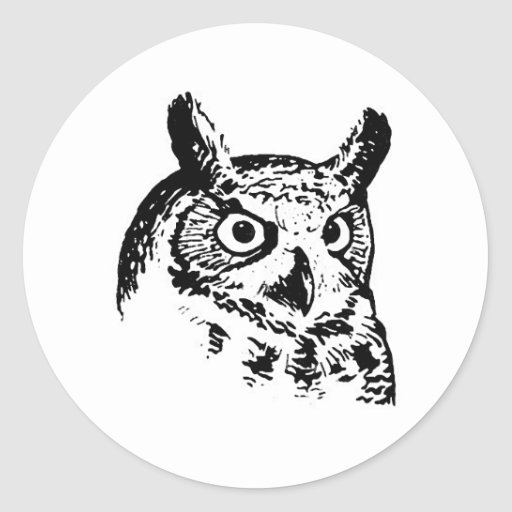 Great Horned Owl Logo Round Stickers