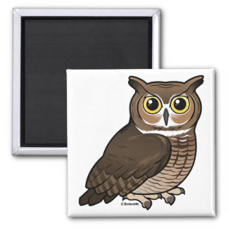Great Horned Owl 2 Inch Square Magnet