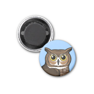 Great Horned Owl 1 Inch Round Magnet