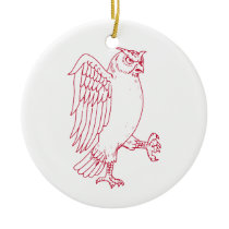Great Horned Owl Marching Drawing Ceramic Ornament