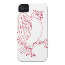 Great Horned Owl Marching Drawing iPhone 4 Cover