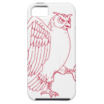 Great Horned Owl Marching Drawing iPhone SE/5/5s Case
