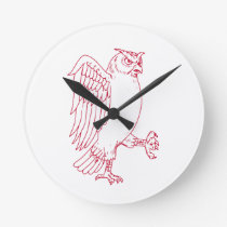 Great Horned Owl Marching Drawing Round Clock