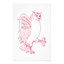 Great Horned Owl Marching Drawing Stationery