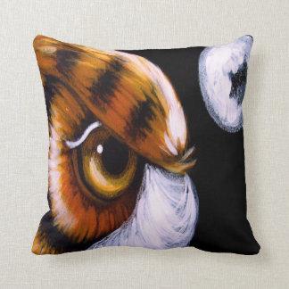 "GREAT HORNED OWL & MOON Throw Pillow 16"" x 16"""