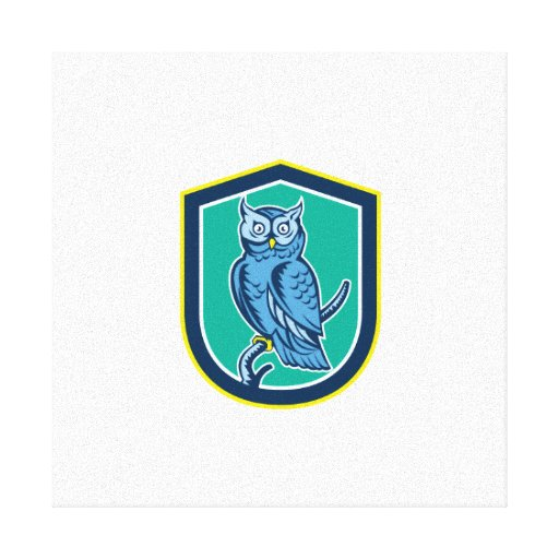 Great Horned Owl on Branch Shield Retro Gallery Wrapped Canvas
