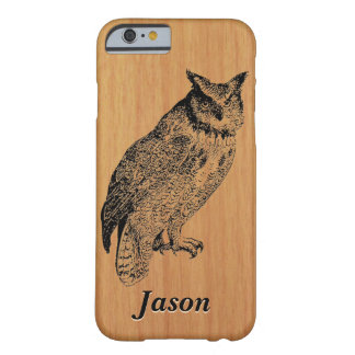 Great Horned Owl on Cherry Wood Barely There iPhone 6 Case