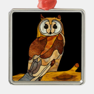 Great Horned Owl Square Metal Christmas Ornament