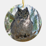 Great Horned Owl Double-Sided Ceramic Round Christmas Ornament
