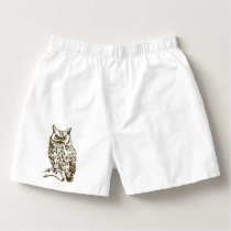 Great Horned Owl Peach Boxers