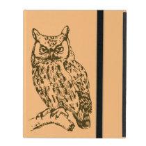 Great Horned Owl Peach iPad Case