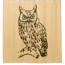 Great Horned Owl Peach Shower Curtain