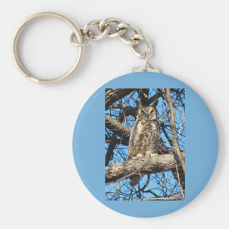 Great Horned Owl Photo Basic Round Button Keychain