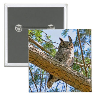 Great Horned Owl Photo Pinback Button